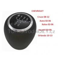 Hlavice řadící páky Chevrolet Aveo, 5 stupňová, chrom