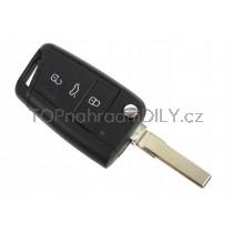 Obal klíče, autoklíč pro VW Golf MK7, trojtlačítkový, černý