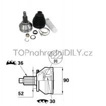 Sada kloubů hnacího hřídele pro VW Polo V, 6Q0498099E