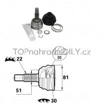 Sada kloubů hnacího hřídele pro VW Jetta I, II, 1H0407311C